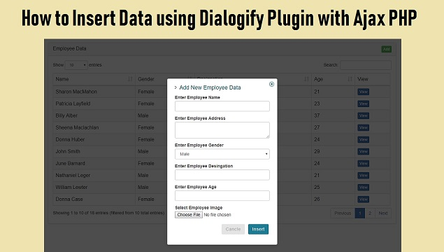 Insert or Add Data using jQuery Dialogify with PHP Ajax