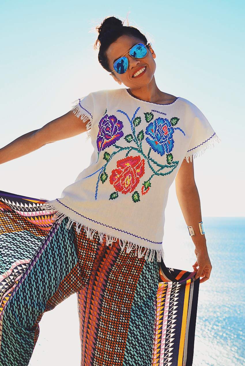 Outfit with white embroidered top