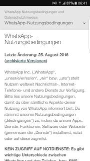 Screenshot WhatsApp Nutzungsbedingungen und Datenschutzrichtlinie