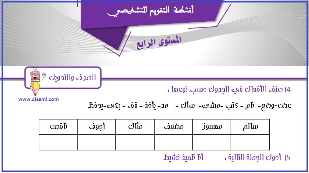 التقويم التشخيصي اللغة العربية  السنة الرابعة ابتدائي