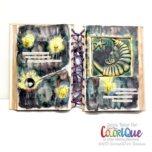 Moonchild Altered Book by Dana Tatar for ColoriQue by Lisa Marie Jimenez