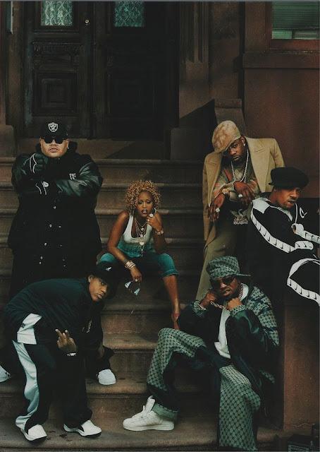 Fat Joe, Bow Wow, Eve, Busta Rhymes, Redman and Method Man. Brownstone, portrait, dark, classical painting, hip-hop ensemble, 90's