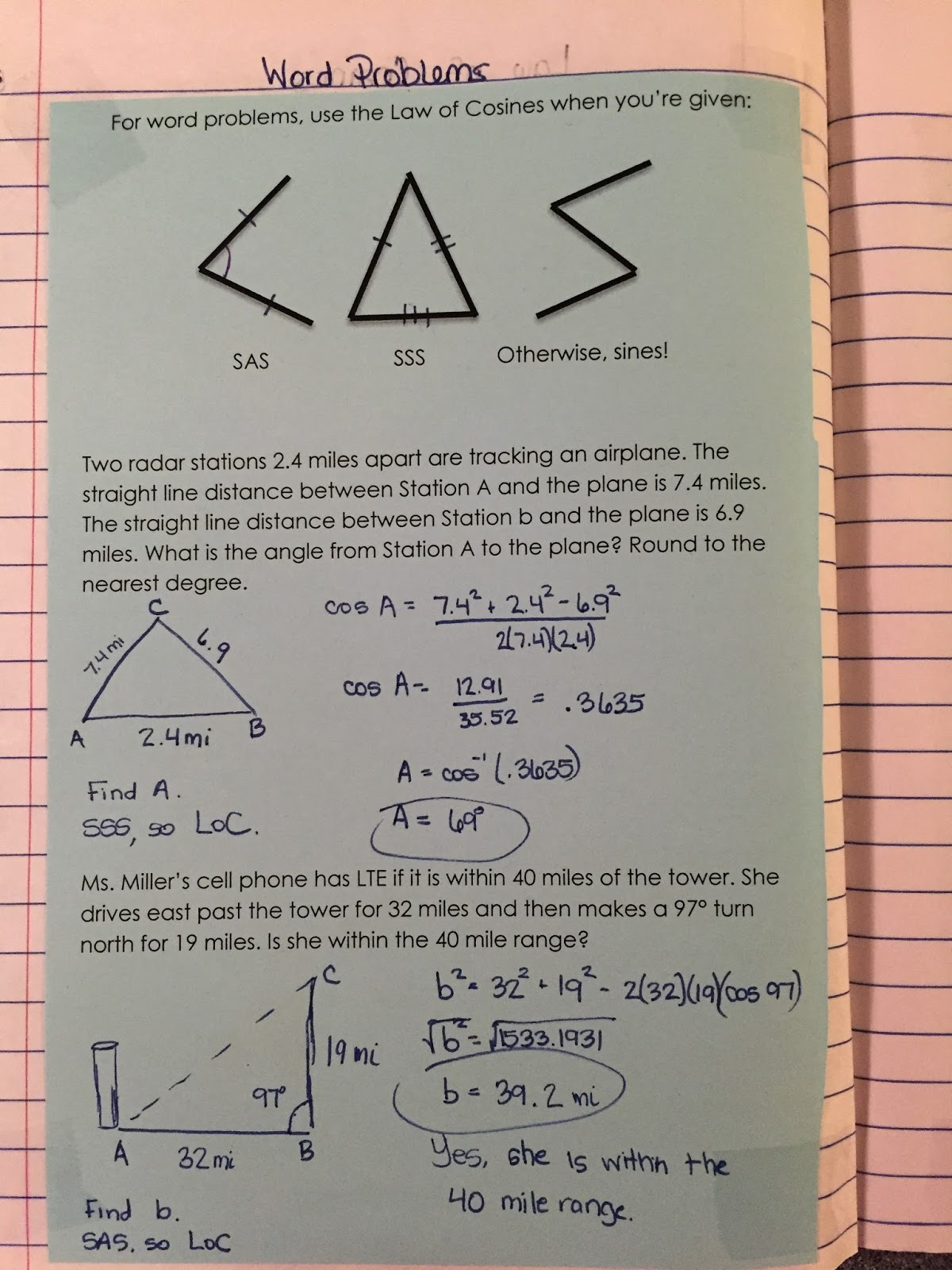 Misscalcul8 Trig Unit 5 Law Of Sines And Cosines
