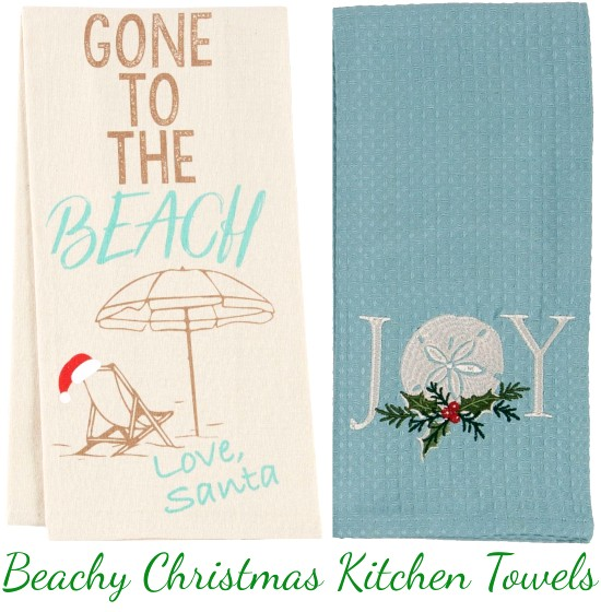 Coastal and Beach Theme Christmas Kitchen Towels