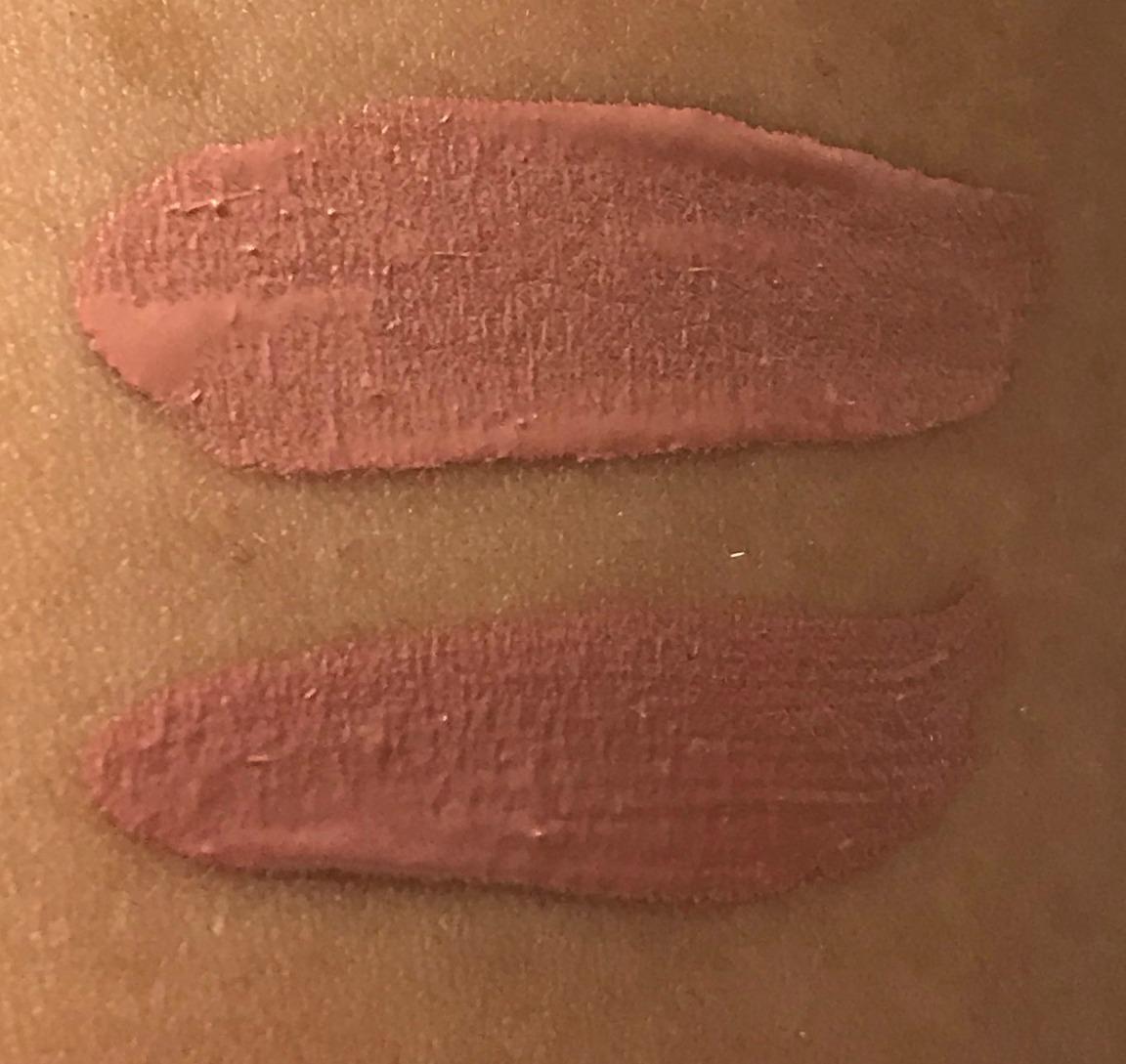Huda Liquid Matte Lipstick Crush Swatch, Pixi Bare Beauty Swatch