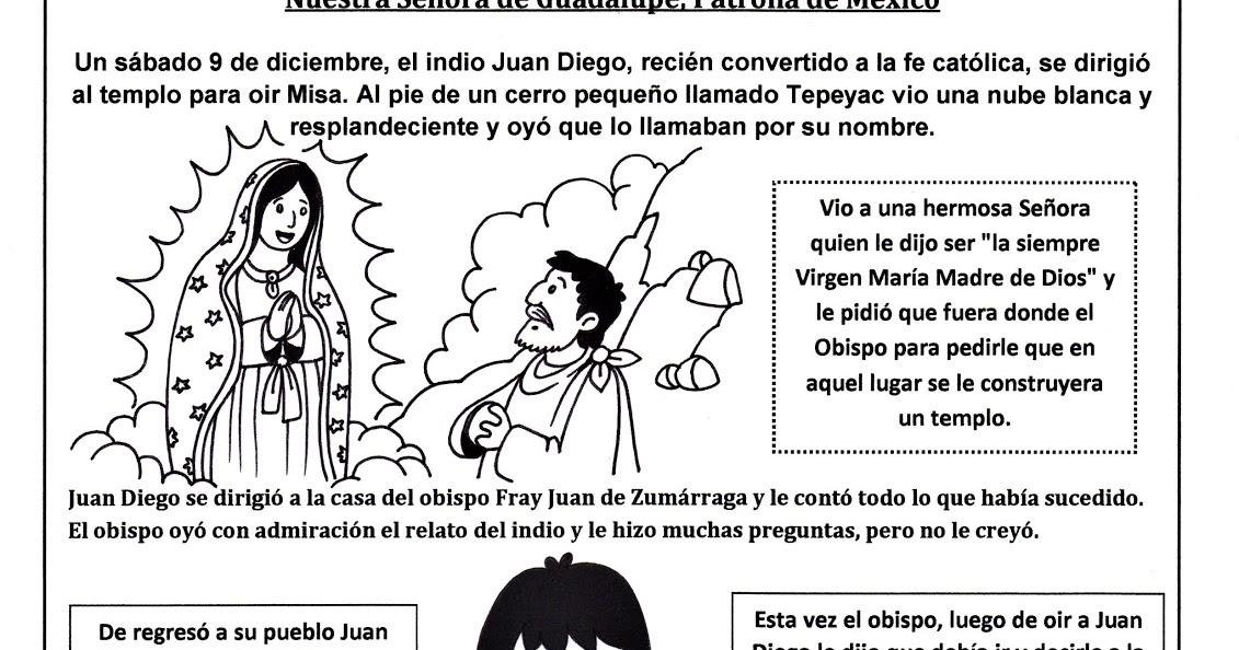 Historia de Nuestra Señora de Guadalupe para Colorear