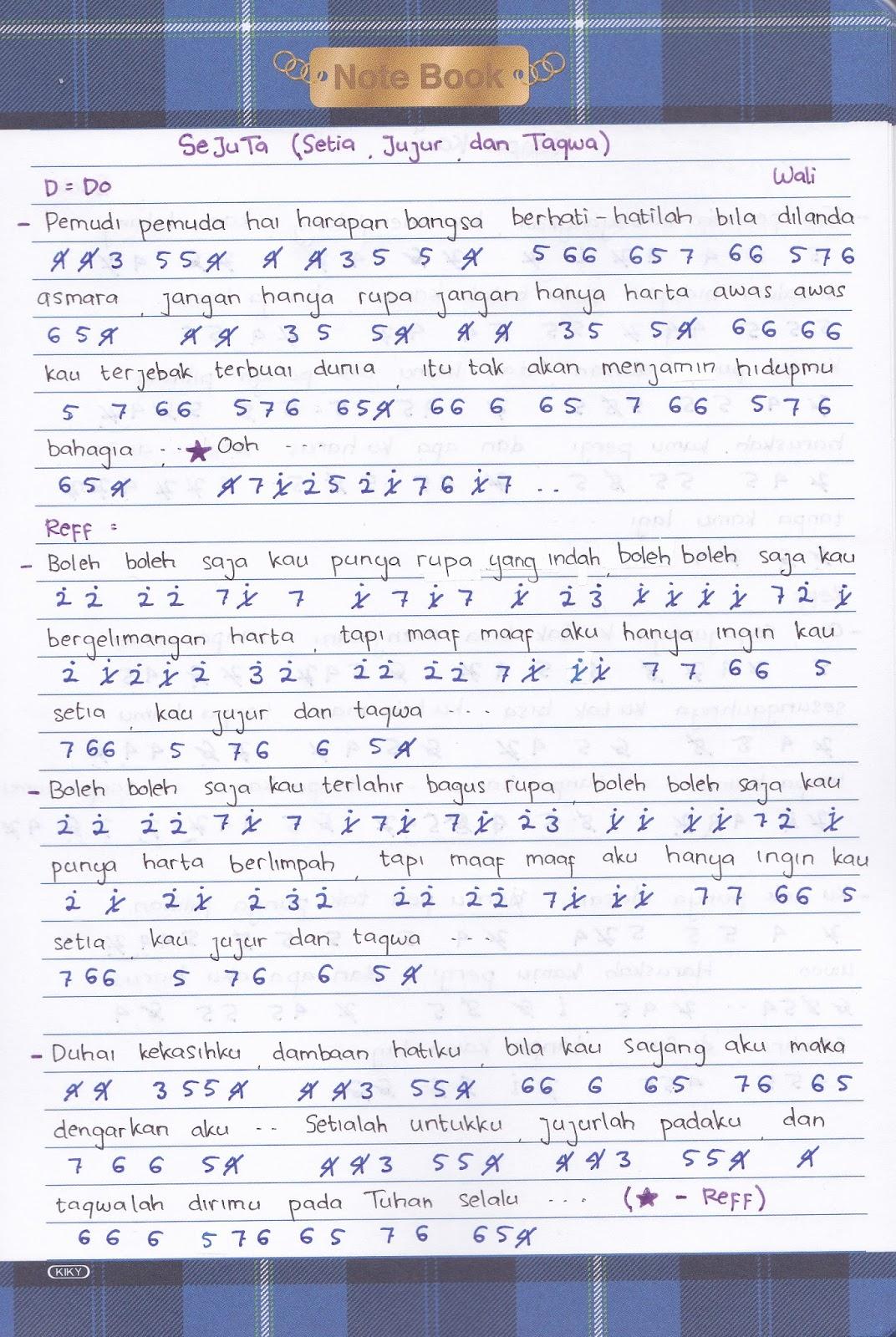 Chord Lagu Wali | wali band antara aku kau dan batu akik ku lirik chord, koleksi not angka not ...