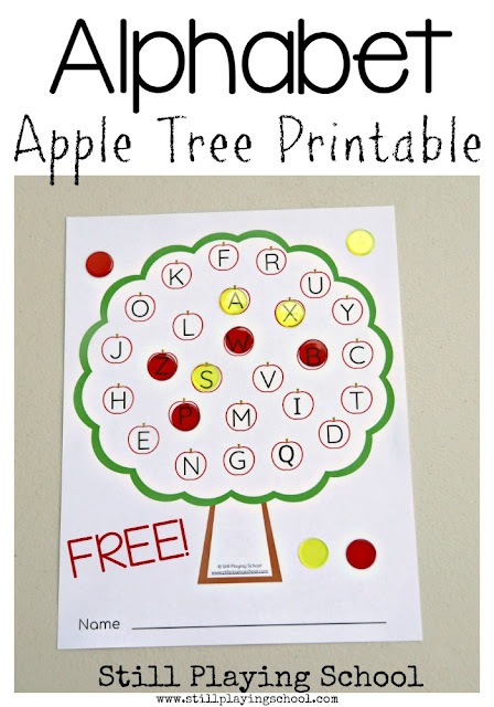 Free apple tree alphabet printable for teaching hands on literacy for kids!