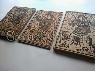 El soldado, el cetrero y el cazador son algunos de los oficios medievales que reproducimos en socarrat. Socarrat Artesanía, Soc-Art. Camateu