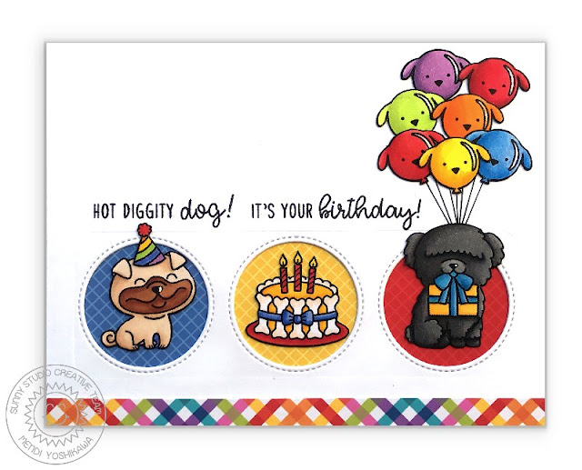 Sunny Studio Stamps: Party Pups Puppy Dog Birthday Balloons Card by Mendi Yoshikawa