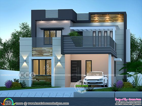 Front elevation of 1600 square feet house with 3 bedrooms