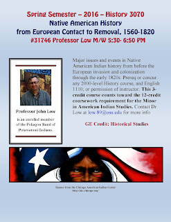Native American History from European Contact to Removal, 1560-1820 Flyer. Spring 2016.