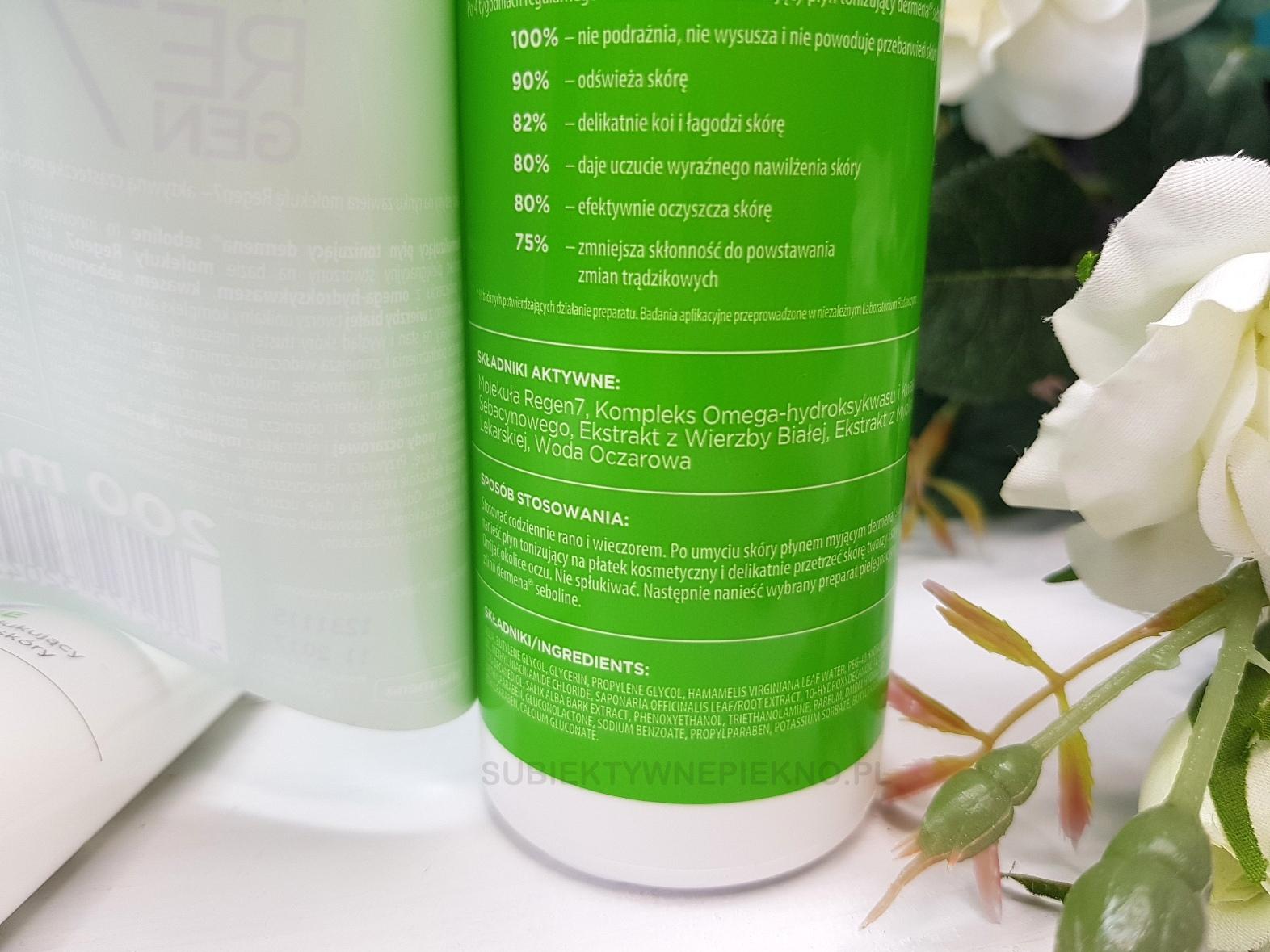 normalizujący płyn tonizujący Dermena Seboline skład