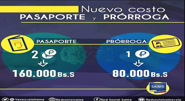Conozca las nuevas tarifas del Saime para emisión y prórroga del pasaporte tras el incremento del petro