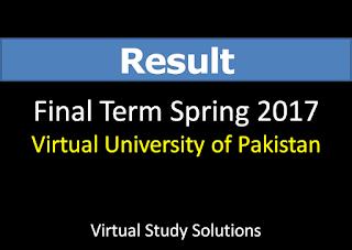 Virtual University Final Term Result Spring 2017