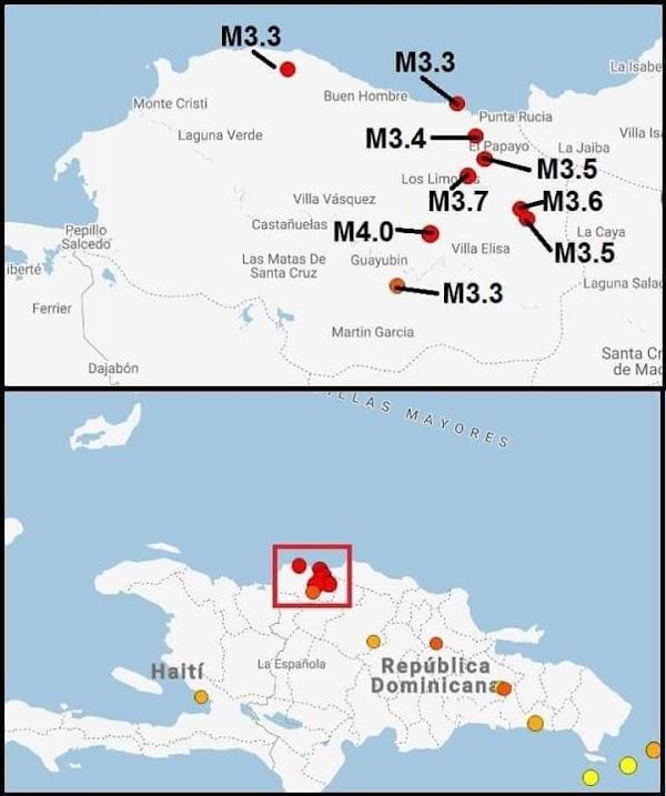 ALERTAS: 9 sismos se han registrado en republica domonicana , en las ulitmas horas.