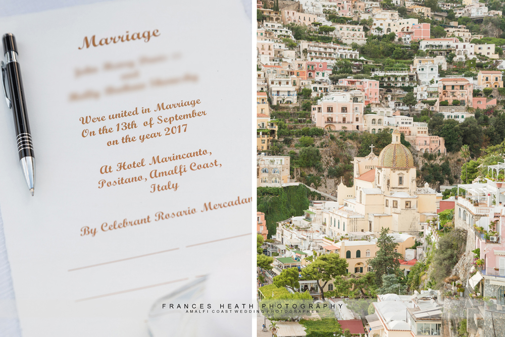 Wedding ceremony certificate and view