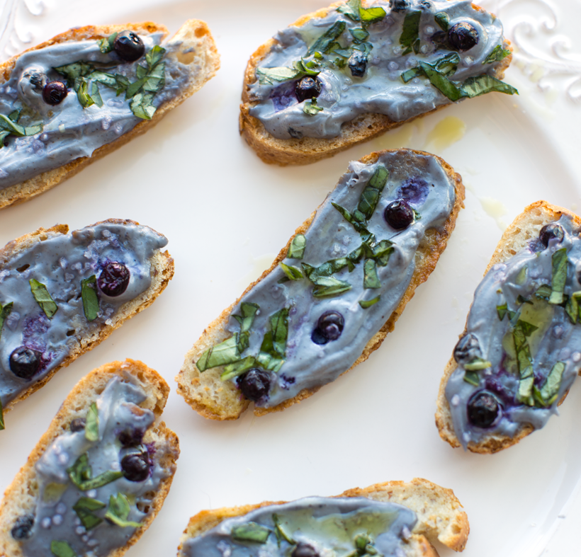 Vegan Wild Blueberry Cashew Spread on Crostini with Fresh Basil