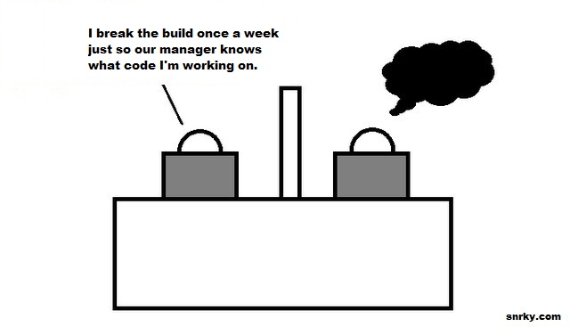 I break the build once a week just so our manager knows what code I'm working on.
