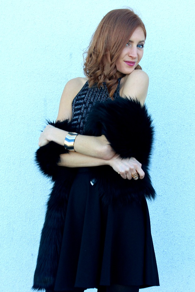 New Years Eve look- faux fur stole, black sequins