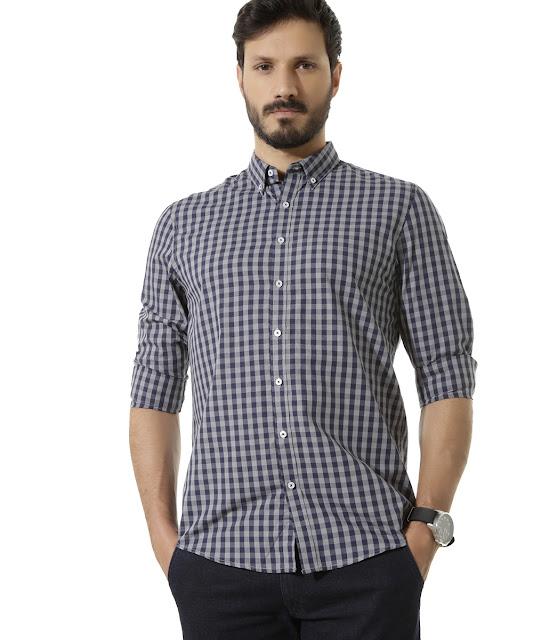 Camisa xadrez comfort cinza