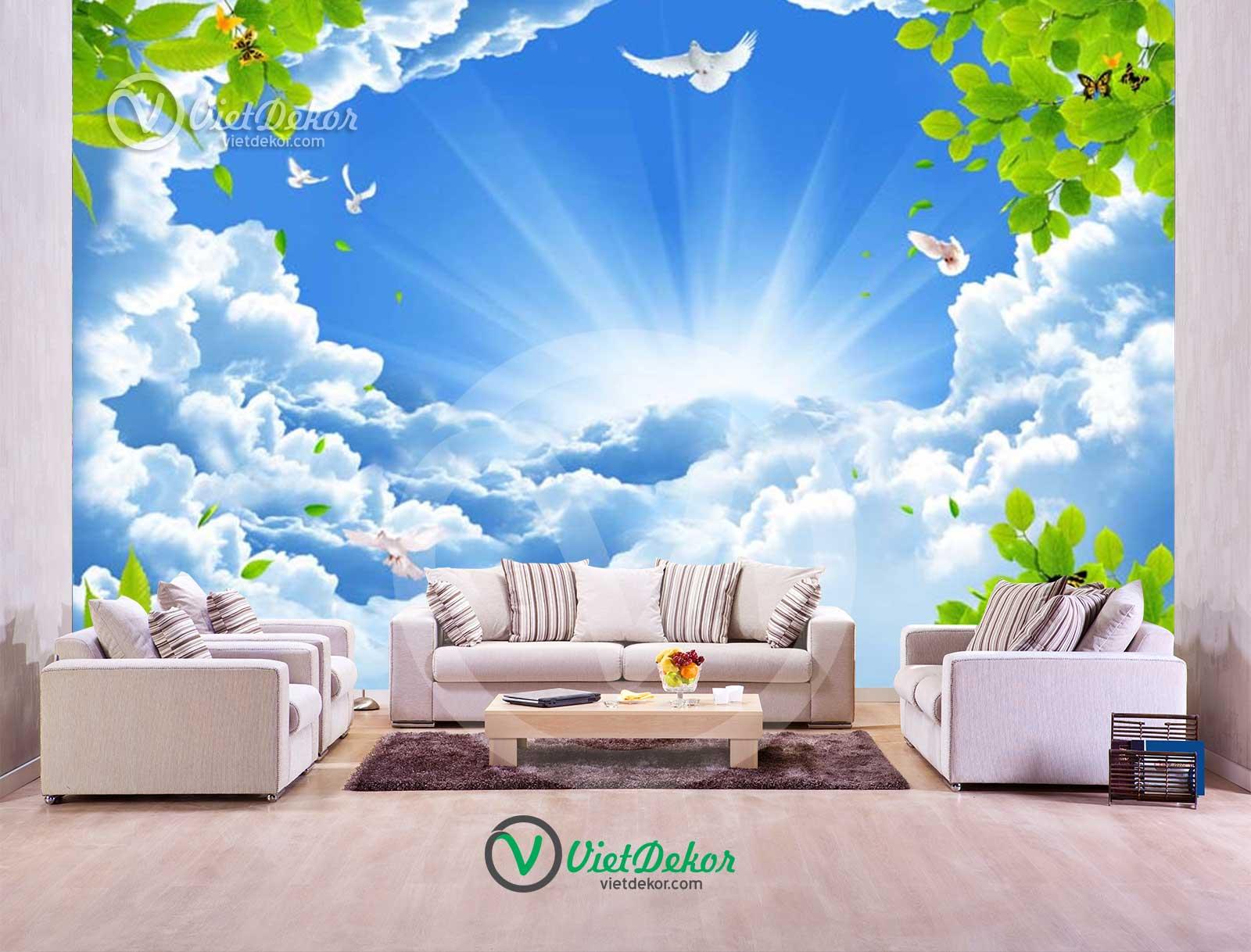 Tranh dán trần 3d bầu trời xanh mây trắng