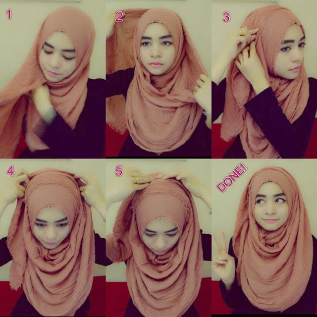 Tutorial hijab pashmina sifon sehari-hari