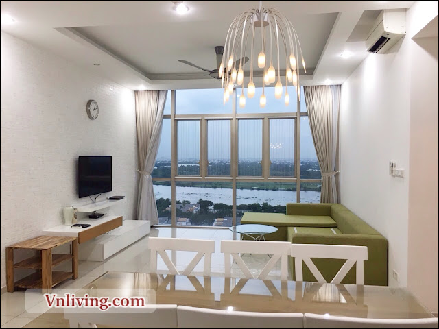 Livingroom Apartment The Vista for rent 3 bedrooms saigon river view