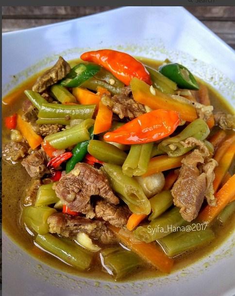 Asem Asem Daging Buncis : daging, buncis, Resep, Membuat, Buncis, Daging