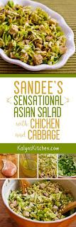 Sandee's Sensational Asian Salad with Chicken and Cabbage found on KalynsKitchen.com