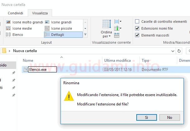 Rinominare file in estensione exe