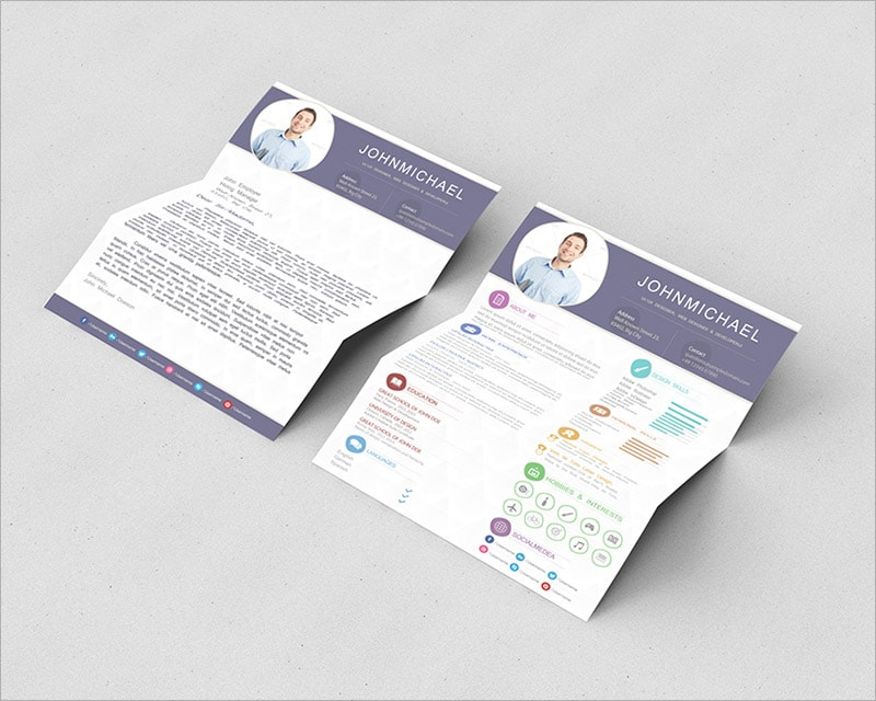 Template Resume CV 2018 - Free Resume CV Template With Cover Letter (psd)