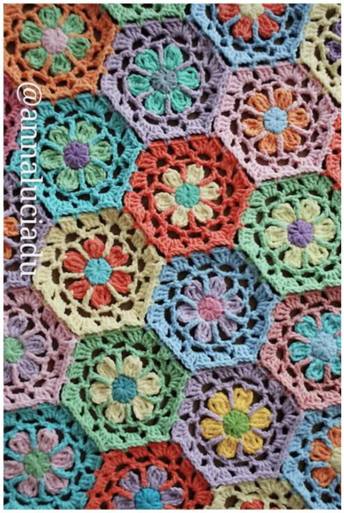 crochet flower motif, crochet hexagon motif