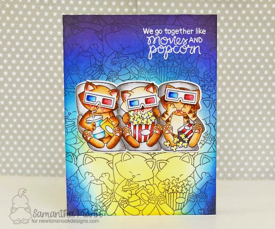 Cats and Movie card by Samantha Mann  Newton's Movie Night Stamp Set by Newton's Nook Designs #newtonsnook #handmade