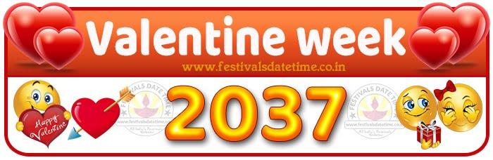 2037 Valentine Week List Calendar, 2037 Valentine Day All Dates & Day