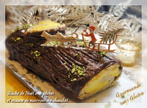 Bûche de Noël sans gluten aux pêches et mousse de marron au chocolat