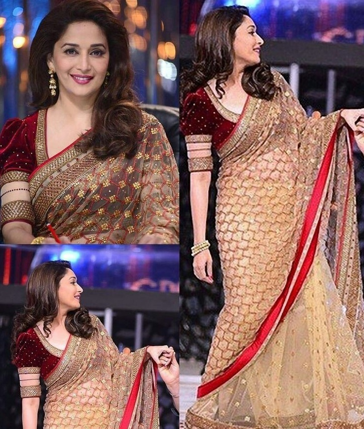 ae7fe181d20203 #2 Velvet blouse designs for net sarees with heavily embellished sleeves