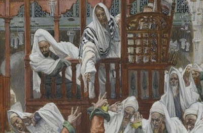 Jesus cures the possessed man in the synagogue.