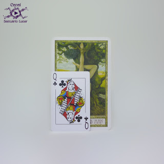 The Druid Craft Tarot - Size comparison using a common playing card