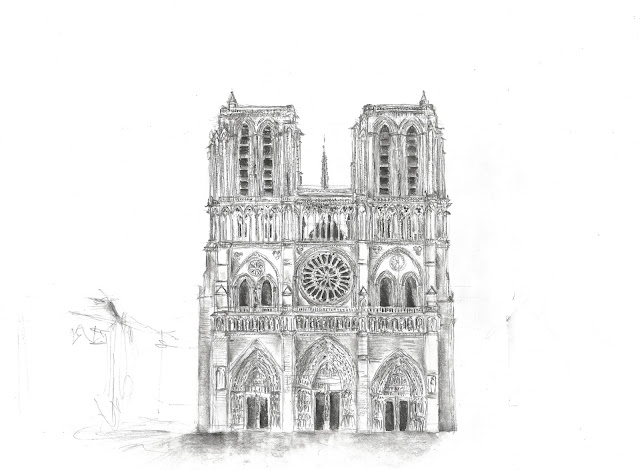 Bleistiftzeichnung Kathedrale Paris gezeichnet - Andreas Blauth Zeichnungen