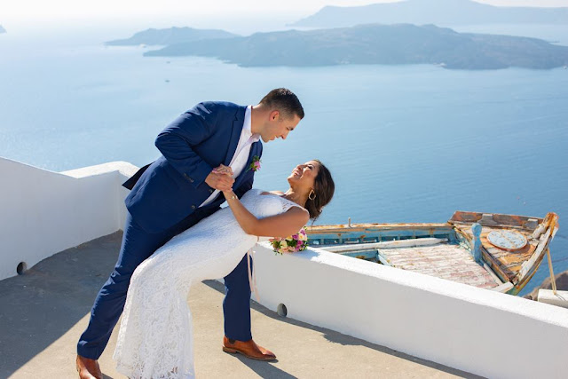Romantic wedding in Santorini - Santa Irene chapel yard