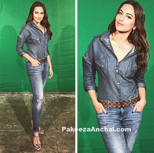 Sonakshi Sinha in Sporting Denim wear Outfits