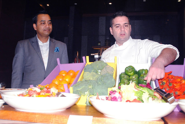 Abhay Kumar and Chef Antonino during the Sicilian Brunch at Hyatt Regency Chandigarh