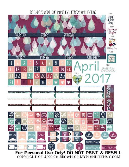 Free Printable April 2017 Monthly Headers and Extras for the Vertical Erin Condren and Recollections Creative Years Planners from myplannerenvy.com
