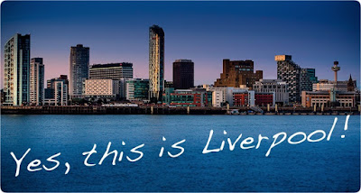 Amazing picture of Liverpool at night with writing on it saying yes this is Liverpool