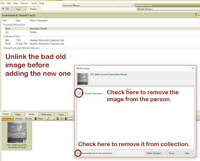 Check the boxes and click Unlink Selected in Family Tree Maker to remove the old image.