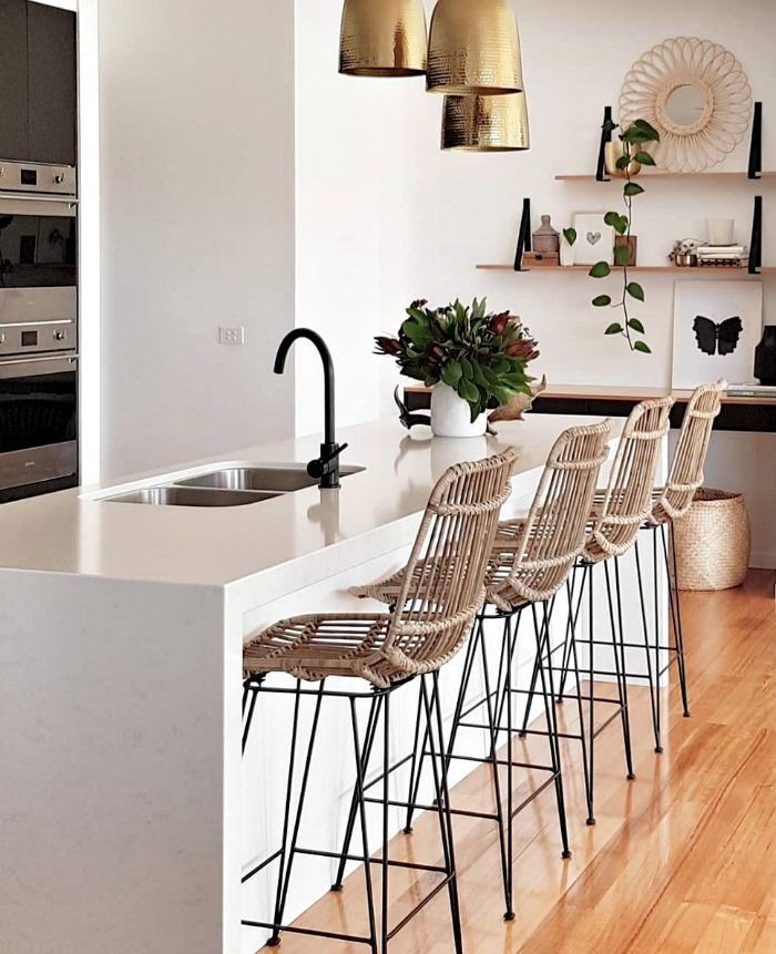 Rattan and wood kitchen stools