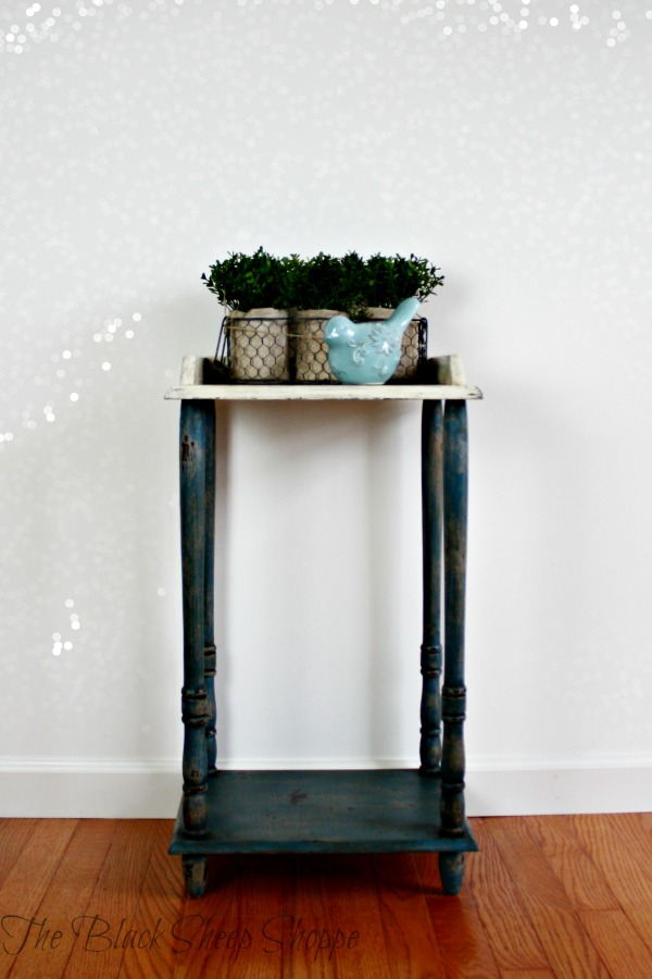 Small side table painted in Aubusson Blue and Old White.