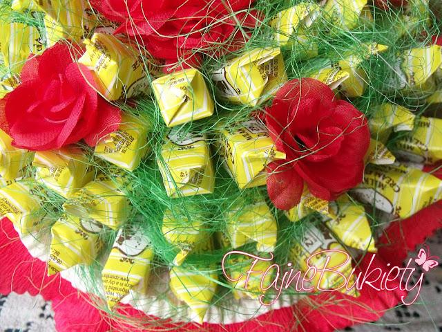 Bukiet z cukierków, krówek na 70-te urodziny