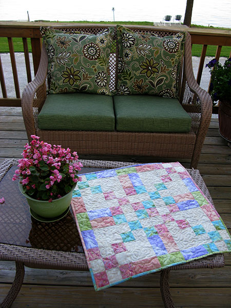 Table topper on the deck